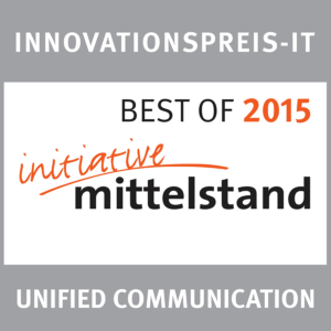 "Signet des Innovationspreis-IT ""Initiative Mittelstand"" von 2015 für webZunder in der Kategorie ""Unified Communication"""