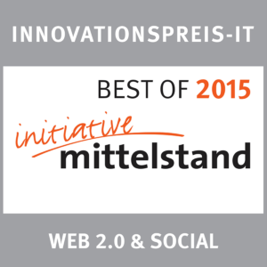 "Signet des Innovationspreis-IT ""Initiative Mittelstand"" von 2015 für webZunder in der Kategorie ""Web 2.0 & Social"""