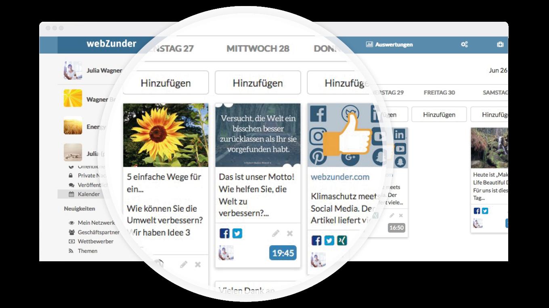 Social Media Planung mit webZunder Kalender