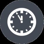 Icon einer Uhr, das verdeutlicht, dass Sie mit dem webZunder Social Media-Setup-Service schnell und unkompliziert alle Ihre Social Media-Profile aufgesetzt bekommen und Sie dabei viel Zeit sparen.