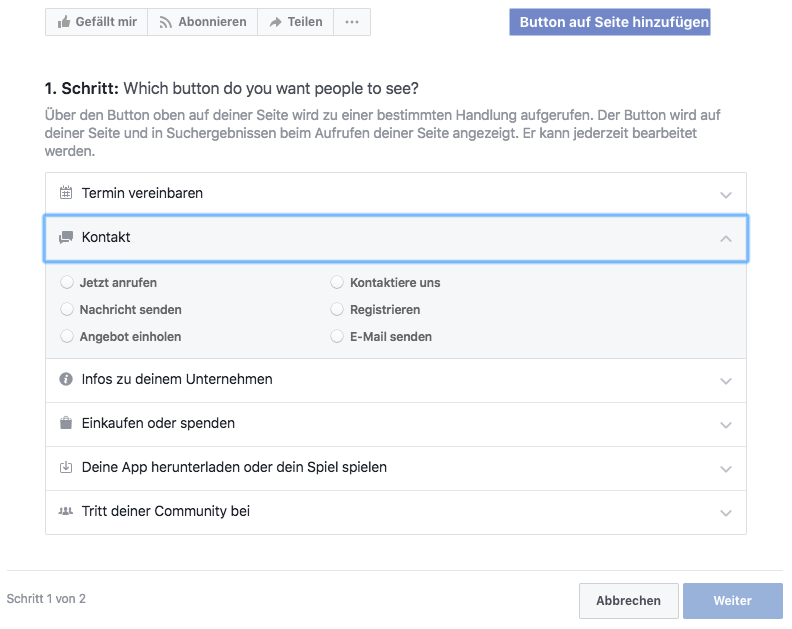 Facebook Call To Action Button ändern