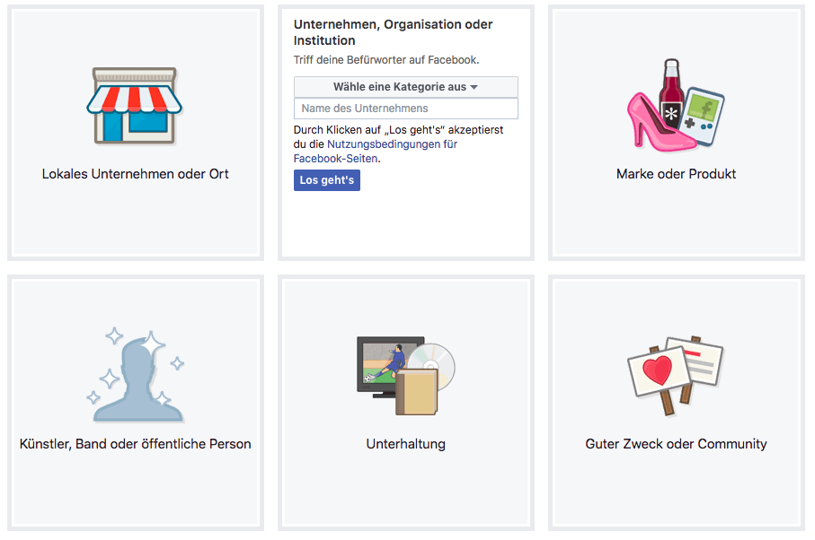 Facebook Seitenarten
