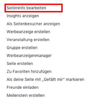 Facebook-Seiteninfo bearbeiten