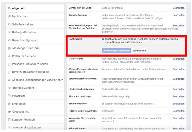 Facebook Einstellungen für Kontaktieren
